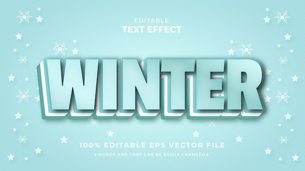 Winter 3d-teksteffect bewerkbare premium-stijl