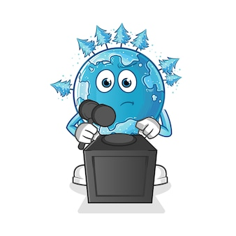 Winter aarde rechter houdt hamer illustratie. karakter