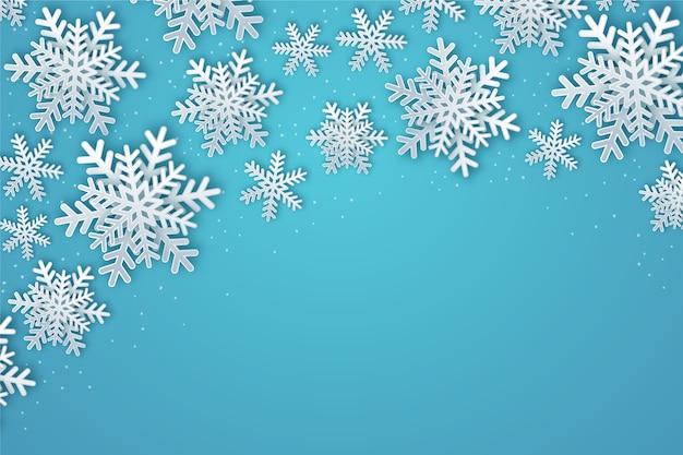 Winter achtergrond concept in papierstijl