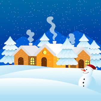 Winter achtergrond concept in platte ontwerp