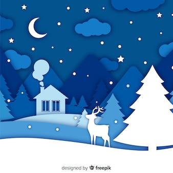 Winter achtergrond in papier stijl