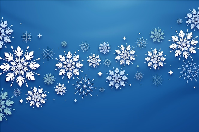 Winter achtergrond in papieren stijl