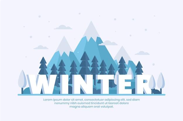Winter achtergrond in plat ontwerp