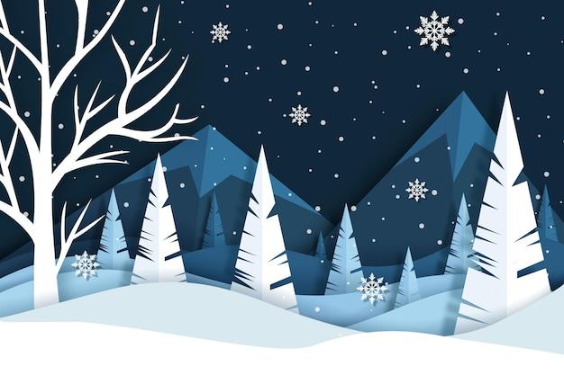 Winter achtergrond met bos in papieren stijl