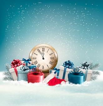 Winter achtergrond met cadeautjes.