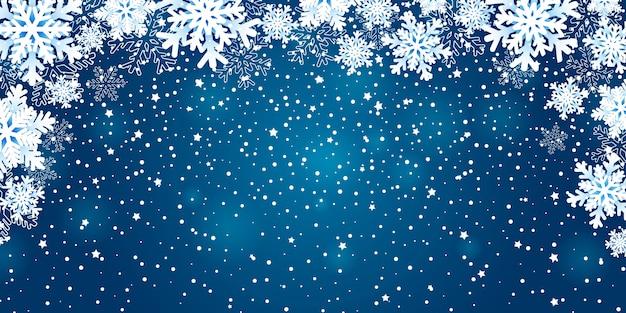 Winter achtergrond met sneeuwvlokken.