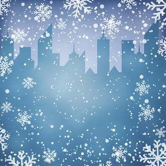 Winter achtergrond met stadsgezicht silhouet