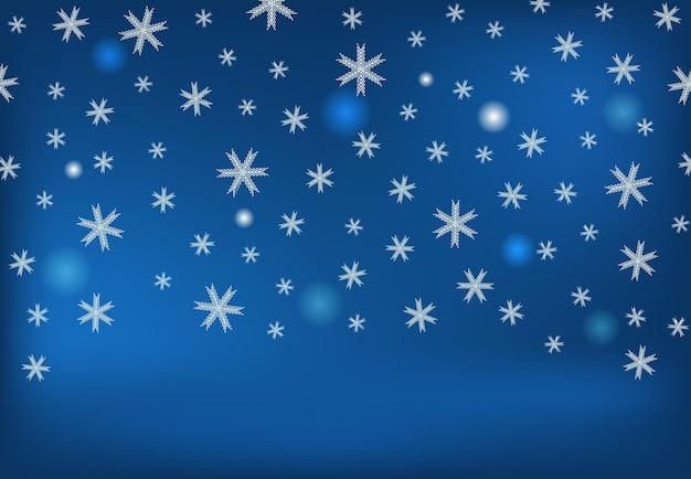 Winter achtergrond met vallende sneeuw en sneeuwvlokken. prettige kerstdagen en gelukkig nieuwjaar achtergrond. vector illustratie.