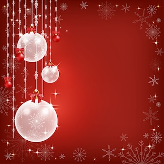 Winter achtergrond met verschillende rode en witte chritsmas ballen opknoping met rode achtergrondgeluid