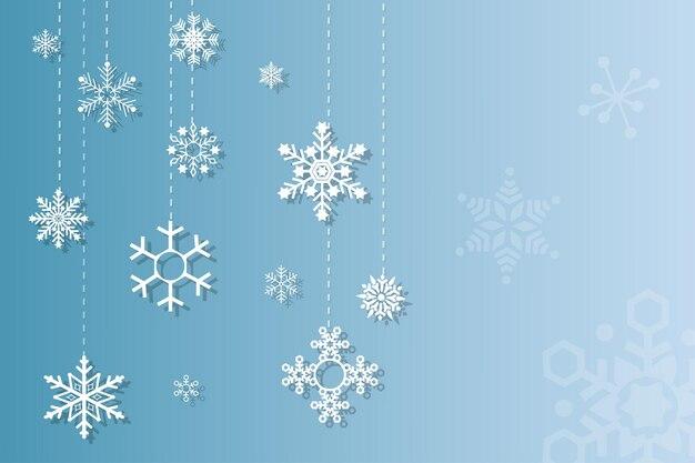Winter achtergrond met witte sneeuwvlokken vector design