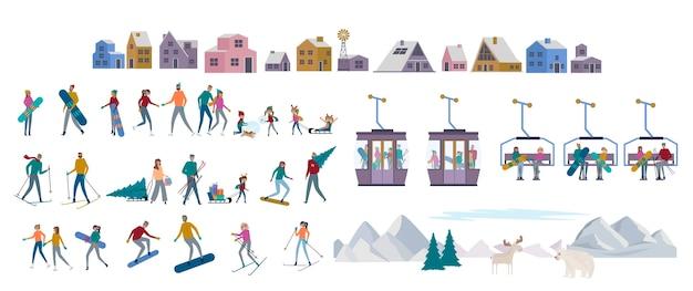 Winter alpen vakantiecollectie. aantal actieve mensen schaatsen, skiën, snowboarden, sleeën, winterhuizen, berg