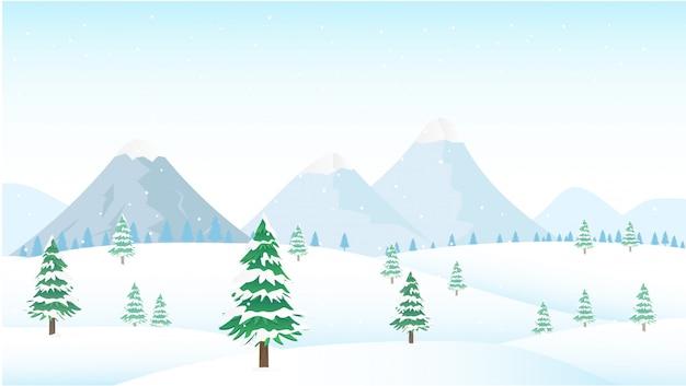 Winter bergen landschap met dennen en heuvels. illustratie