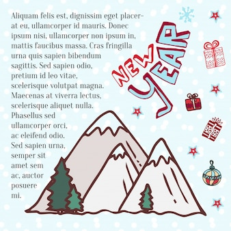 Winter bergen. schattig vector kunst voor nieuwjaars vakantie decoratie.