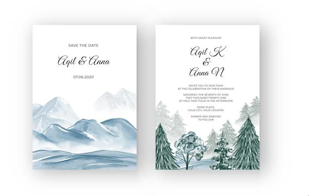 Winter berglandschap aquarel huwelijksuitnodiging