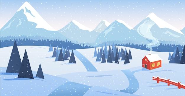Winter berglandschap met bos en eenzaam huis langs de weg met vallende sneeuw.