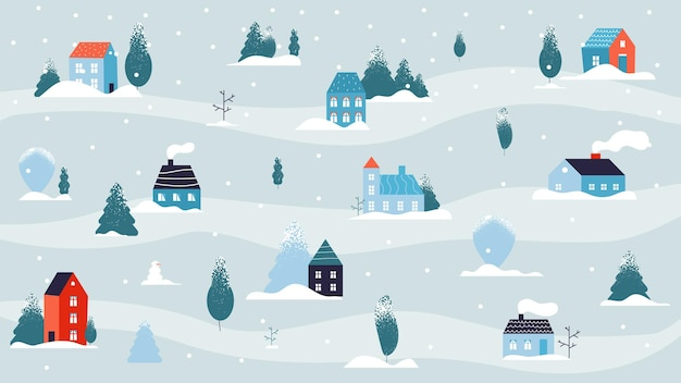 Winter besneeuwde landschap. huis minimale achtergrond, land of schattig dorp in het bos. vlakke straat koud weer en sneeuw. minimalisme landelijke kleine gebouwen, wijk vectorillustratie