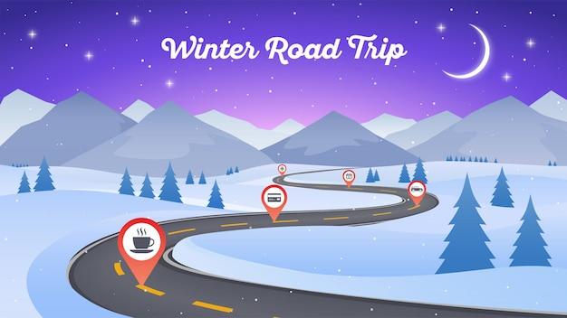 Winter besneeuwde landschap met kronkelende weg weg