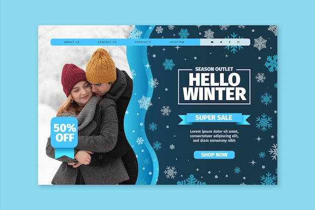Winter bestemmingspagina concept