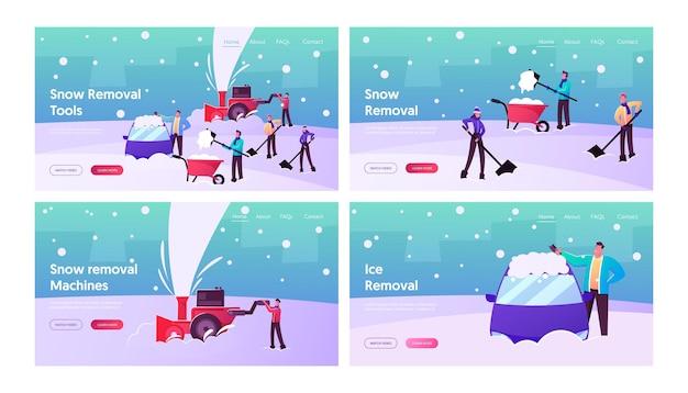 Winter bestemmingspagina sjabloon set. gelukkige karakters die aan het scheppen zijn, sneeuw van straat verwijderen met behulp van schoppen en sneeuwblazer voor het reinigen van wegen en auto's na sneeuwval. cartoon mensen vectorillustratie