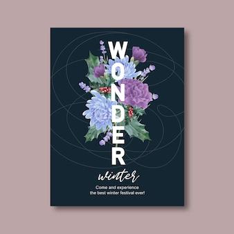 Winter bloei poster met pioen, chrysant
