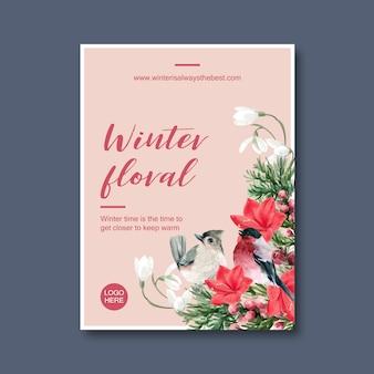 Winter bloei poster met vogel, bloemen, foliages