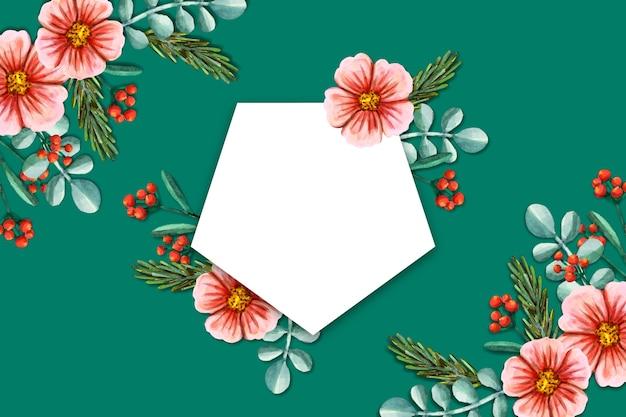 Winter bloemen achtergrond met lege badge