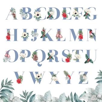 Winter bloemen alfabet s