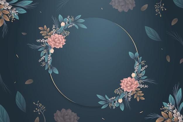 Winter bloemen behang met lege badge