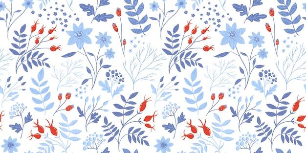 Winter bloemmotief met witte bloemen, rode rozenbottels en verschillende takken met sierlijke bladeren. elegante naadloze botanische textuur, herhaalde achtergrond voor textiel en inpakpapier ontwerp.