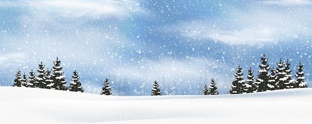 Winter bomen achtergrond met sneeuwval