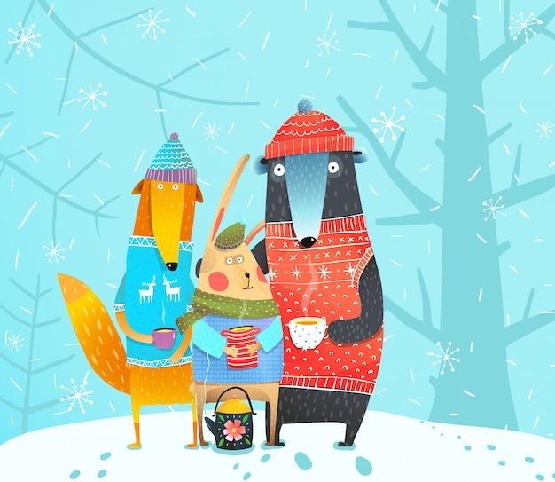 Winter bos dieren