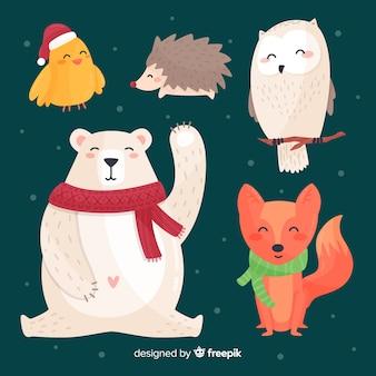 Winter bos dierlijke collectie
