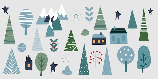 Winter bos set. elementen voor wenskaart, poster, banners. ontwerp van t-shirt, notitieboekje en sticker