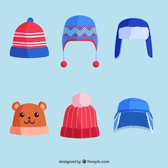 Winter cap collectie van zes