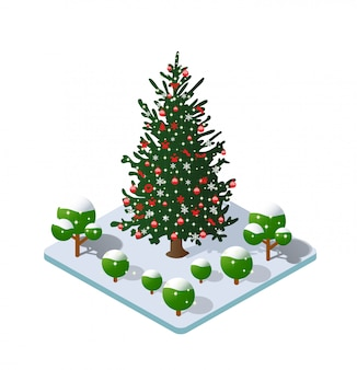 Winter christmas besneeuwde boom pictogram