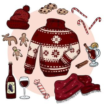 Winter christmas doodles instellen.