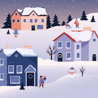 Winter christmas landschap achtergrond met mensen, sneeuw.