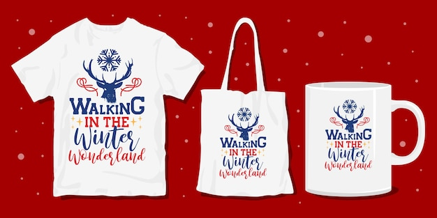 Winter christmas typografie merchandise design