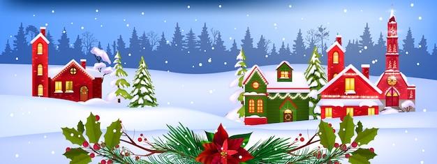 Winter christmas vector landschap met ingerichte dorpshuizen gevels, pijnbomen, sneeuw, bos