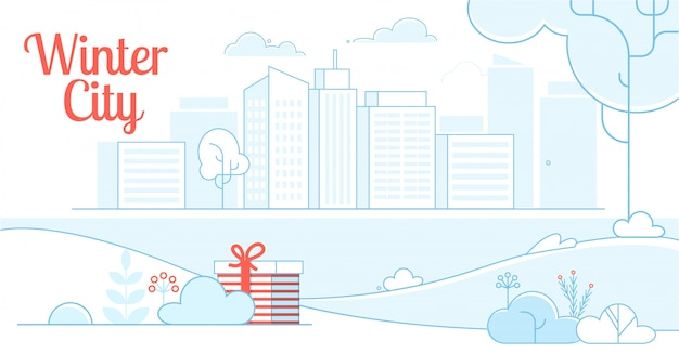 Winter city design en gift onder bush