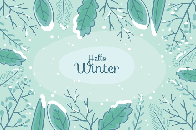 Winter concept in de hand getekend
