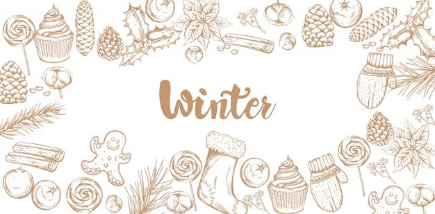 Winter decoraties banner met ornamenten