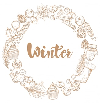 Winter decoraties krans met ornamenten
