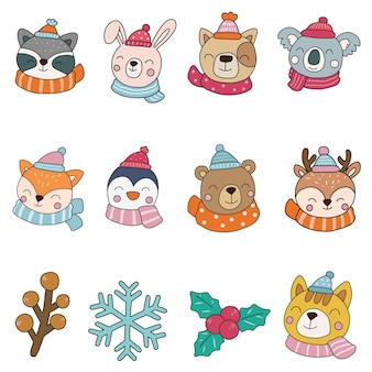 Winter dieren clipart, dieren vrolijk kerstfeest