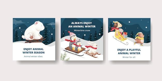 Winter dieren kaarten set