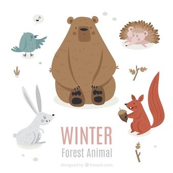 Winter dierencollectie in vlakke stijl