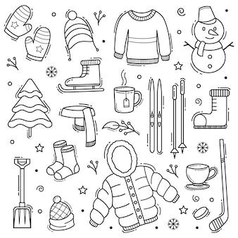 Winter doodle hand getekende objecten met lijn kunststijl