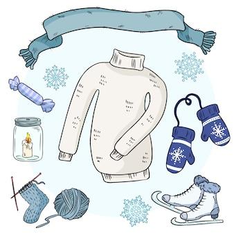 Winter doodles instellen.