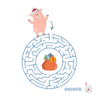 Winter doolhofspel. labyrint met grappig piggy-karakter en antwoord. illustratie. op witte achtergrond.
