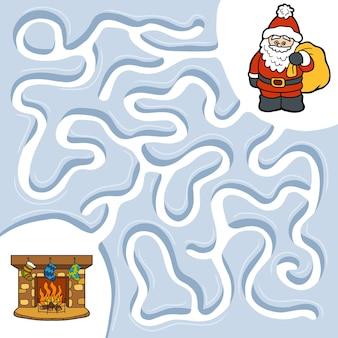 Winter doolhofspel voor kinderen, kerstman en open haard